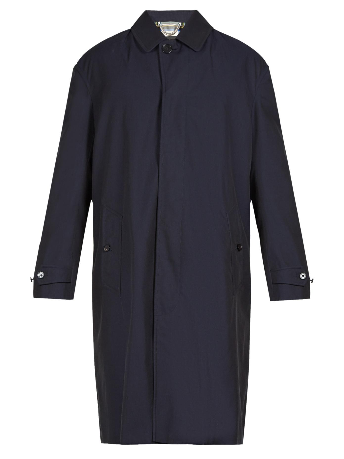 Burberry Point-Collar Cotton-Twill Trench Coat In Navy