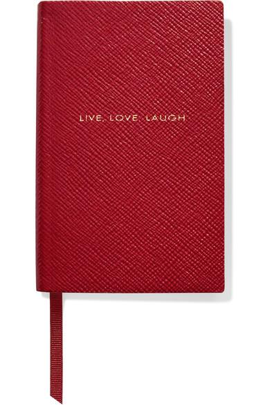 Smythson Panama Live, Laugh Love Textured-Leather Notebook In Red