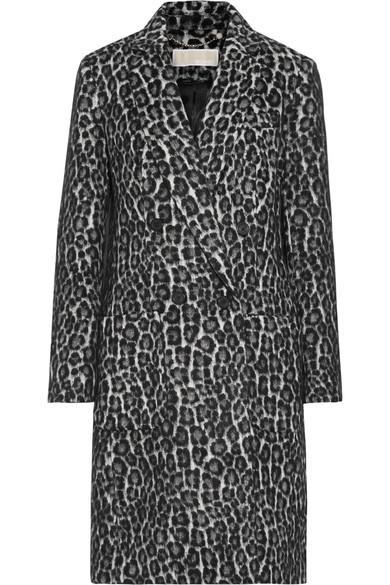 Michael Michael Kors Double-Breasted Leopard-Print BouclÉ Coat In Black