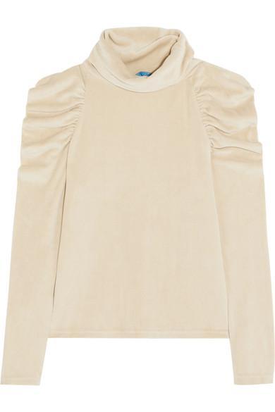 M.I.H Jeans Bay Garnett Spider Ruched Cotton-Blend Velour Turtleneck Top In Cream