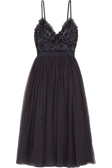 Needle & Thread Open-Back Embellished Crepe And Tulle Midi Dress In Midnight Blue
