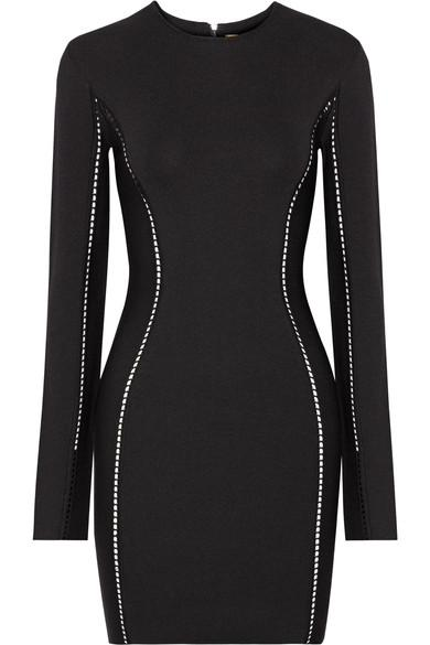 Dion Lee Pointelle-Trimmed Stretch-Knit Mini Dress In Black