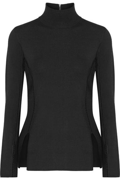 Dion Lee Pointelle-Trimmed Stretch-Knit Top In Black