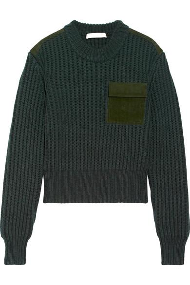 Dion Lee Suede-Trimmed Wool And Cashmere-Blend Sweater In Emerald