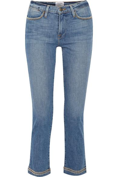 Frame Le High Studded Cropped Straight-Leg Jeans In Light Denim