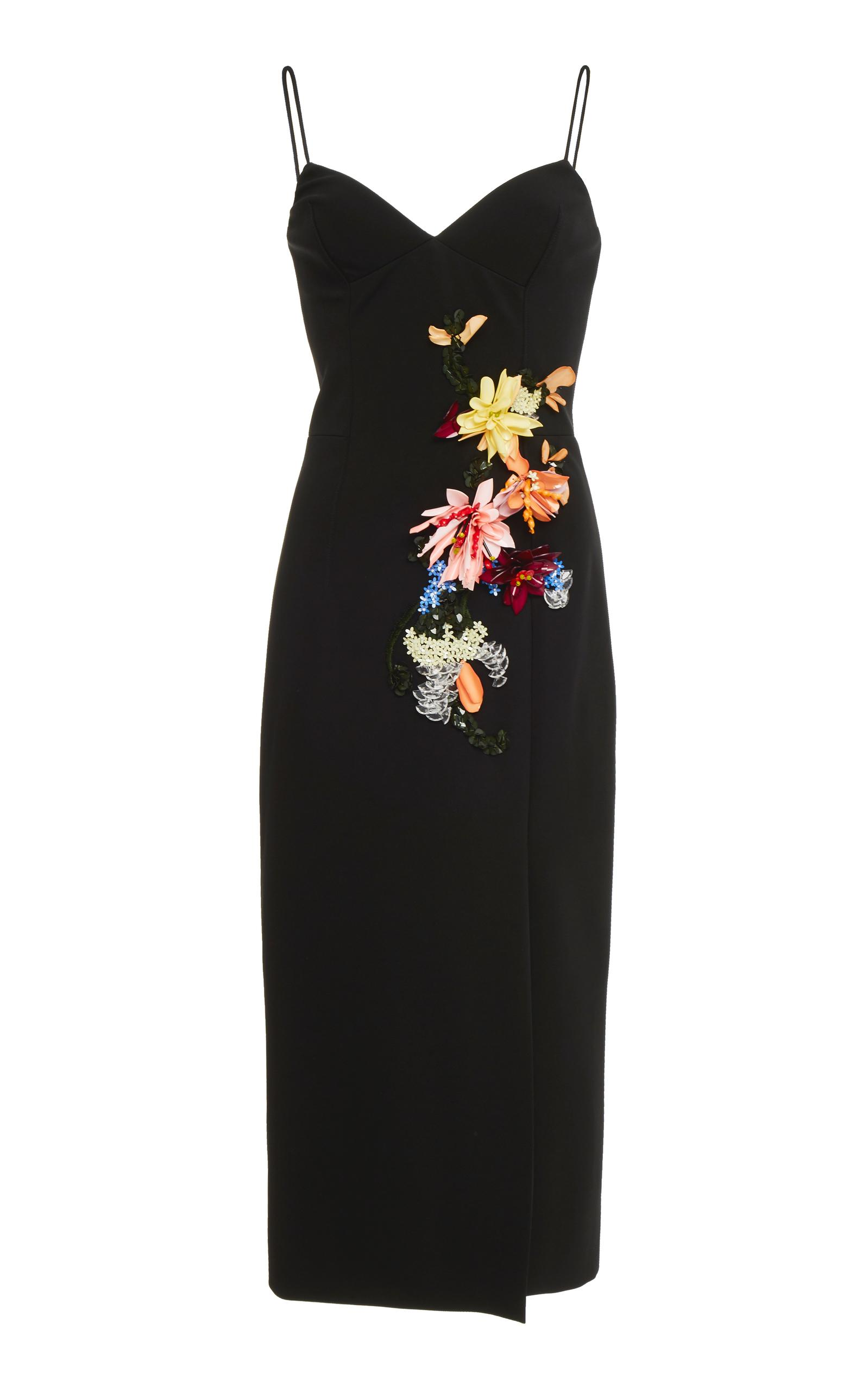 Cushnie Et Ochs Ivana Camisole Cocktail Dress W/ 3-D Floral-Embroidery In Black
