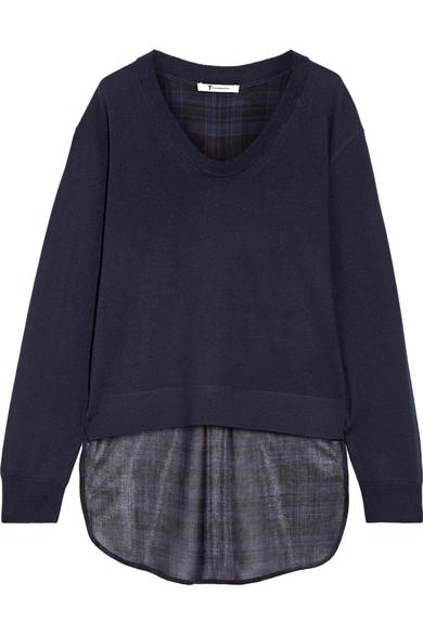 T By Alexander Wang Asymmetric Plaid Gauze And Merino Wool Sweater In Midnight Blue