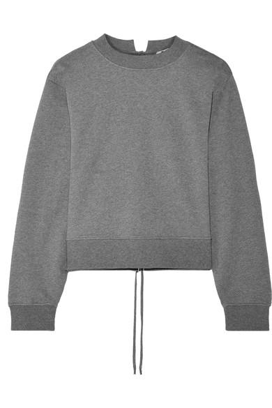 T By Alexander Wang Alexanderwang.T Woman Lace-Up French Cotton-Terry Sweatshirt Dark Gray In Anthracite