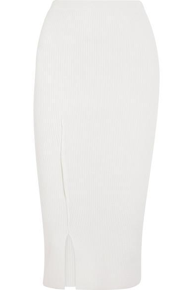 Victoria Beckham Ribbed Knit Midi Skirt