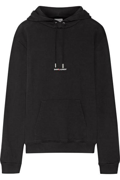 Saint Laurent Oversized Printed Cotton-Terry Sweatshirt In Black
