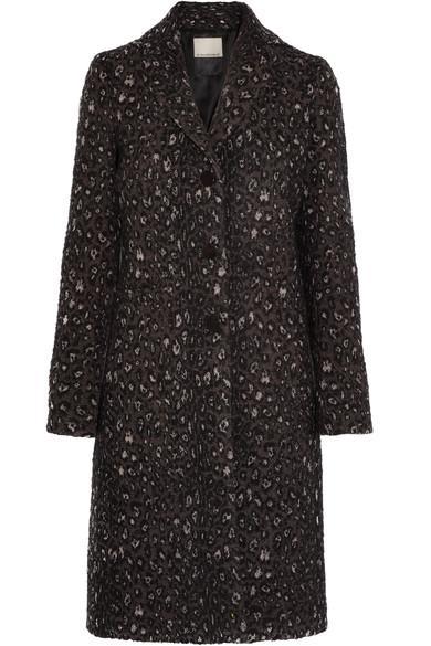 By Malene Birger Glittha Leopard-Jacquard Coat In Black