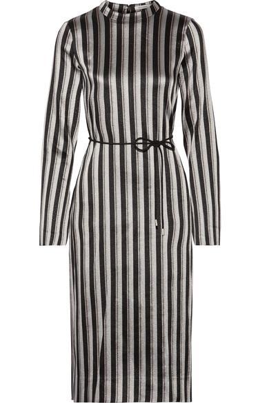 Protagonist Metallic Striped Woven Midi Dress In Silver
