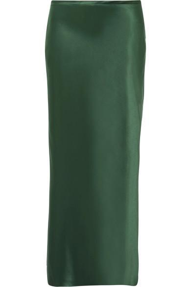 Michael Lo Sordo Silk-Satin Midi Skirt In Dark Green