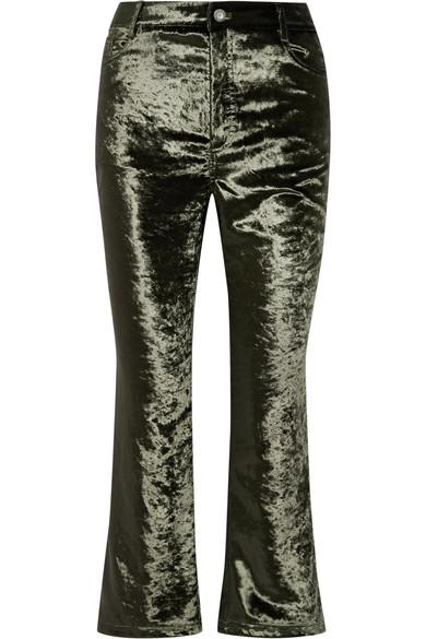 Opening Ceremony Cropped Velvet Flared Pants In Army Green