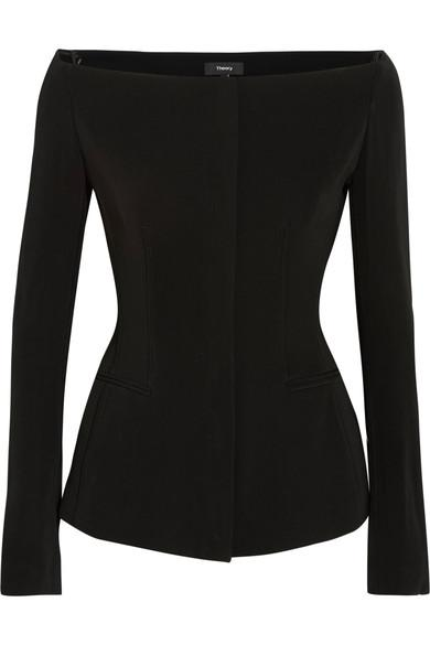 Theory Off-The-Shoulder Stretch-Crepe Jacket