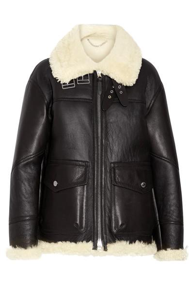 Burberry Black Yeoville Shearling Aviator Leather Jacket In Llack