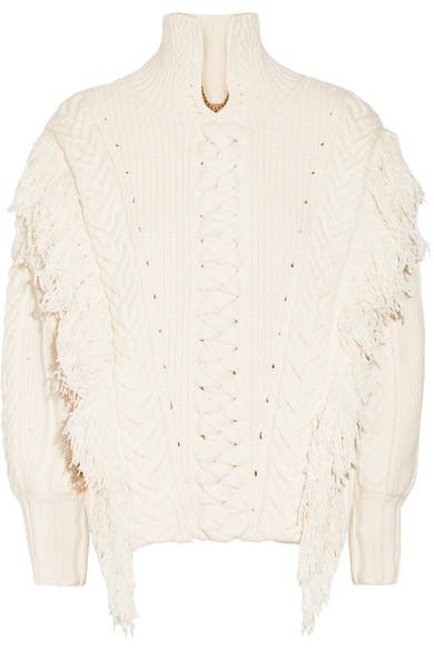 Burberry Oversized Fringed Cable-Knit Cotton-Blend Sweater In White