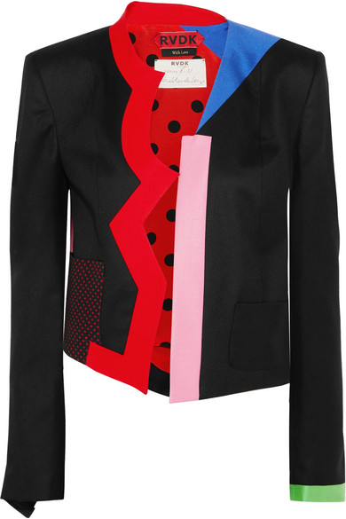 Ronald Van Der Kemp Memphis Color-Block Wool-Flannel Jacket In Black