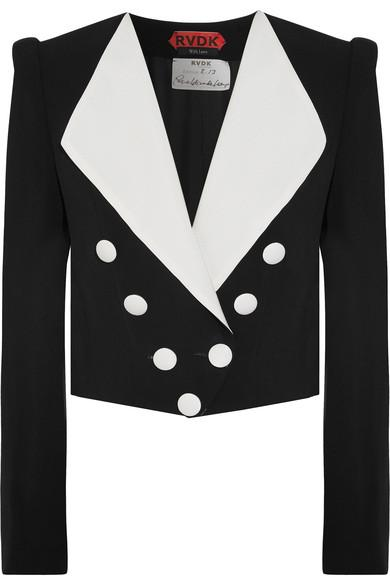 Ronald Van Der Kemp Cropped Double-Breasted Crepe And Silk-Ottoman Blazer