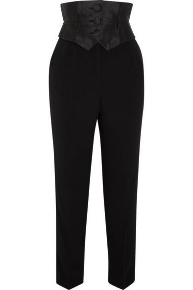 Ronald Van Der Kemp Crepe And Silk-Mikado Slim-Leg Pants In Black