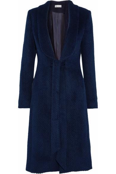 Rebecca Vallance Bava Herringbone Llama And Wool-Blend Coat In Navy