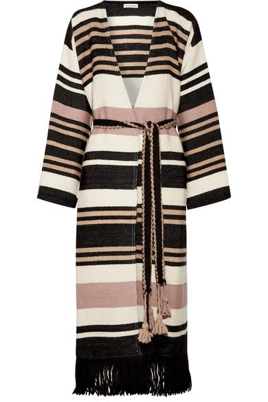 Ulla Johnson Areli Fringed Striped Alpaca Coat In Cream