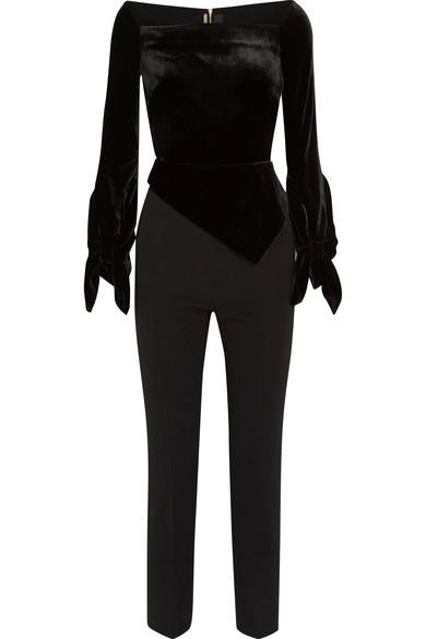 Roland Mouret Rayleigh Off-The-Shoulder Velvet And Crepe Jumpsuit