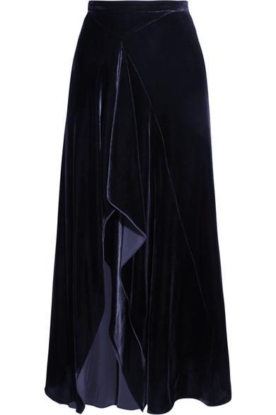 Roland Mouret Haxby Draped Velvet Midi Skirt In Navy