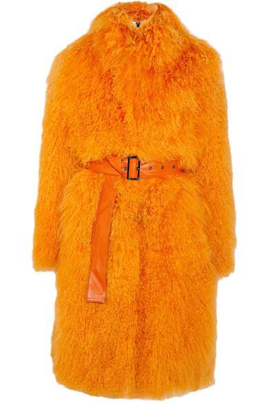 Saks Potts Rosti Belted Shearling Coat In Bright Orange