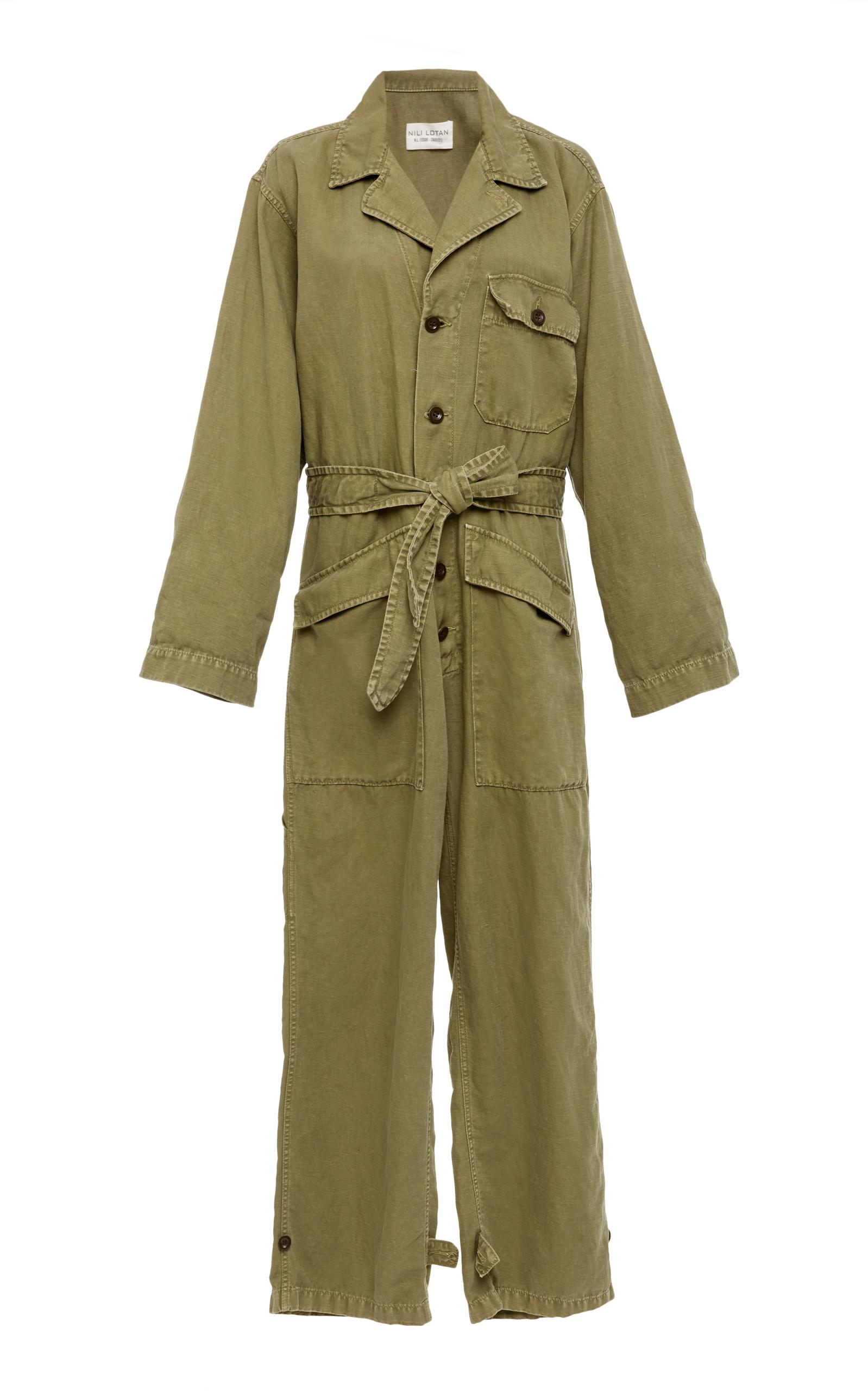 Nili Lotan Aria Cotton-Linen Belted Jumpsuit - Army Green