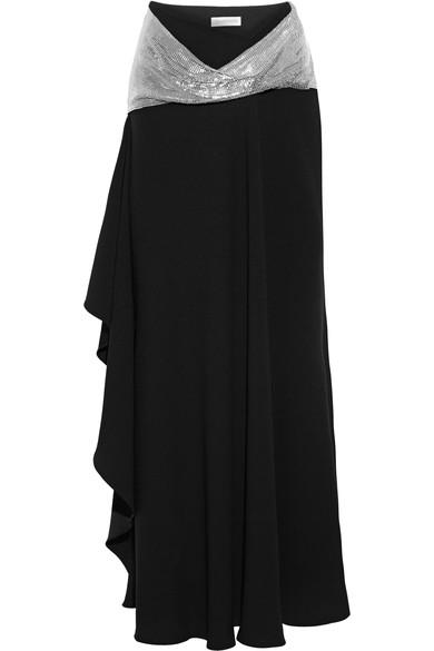 J.W.Anderson Chainmail-Paneled Asymmetric Crepe Maxi Skirt