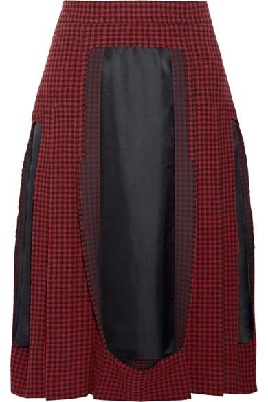 Maison Margiela Paneled Houndstooth Wool And Twill Midi Skirt