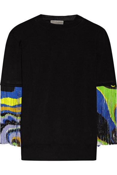 Emilio Pucci Wool Sweater With Fringes In Black
