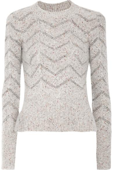 Isabel Marant Elson Crew-Neck Zigzag-Embroidered Sweater In Light Grey
