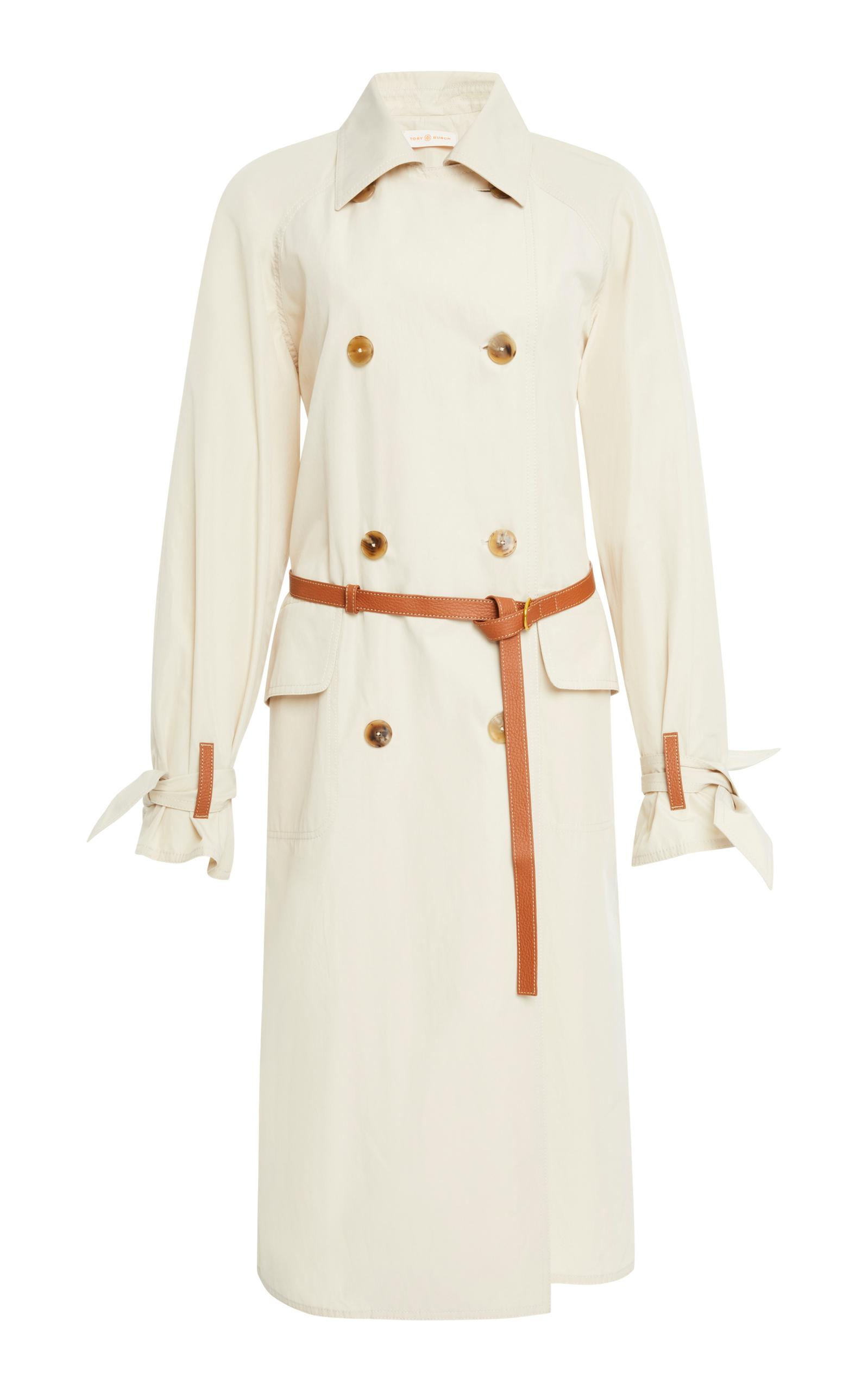 Tory Burch Mariella Belted Leather-Trimmed Poplin Trench Coat In Neutral
