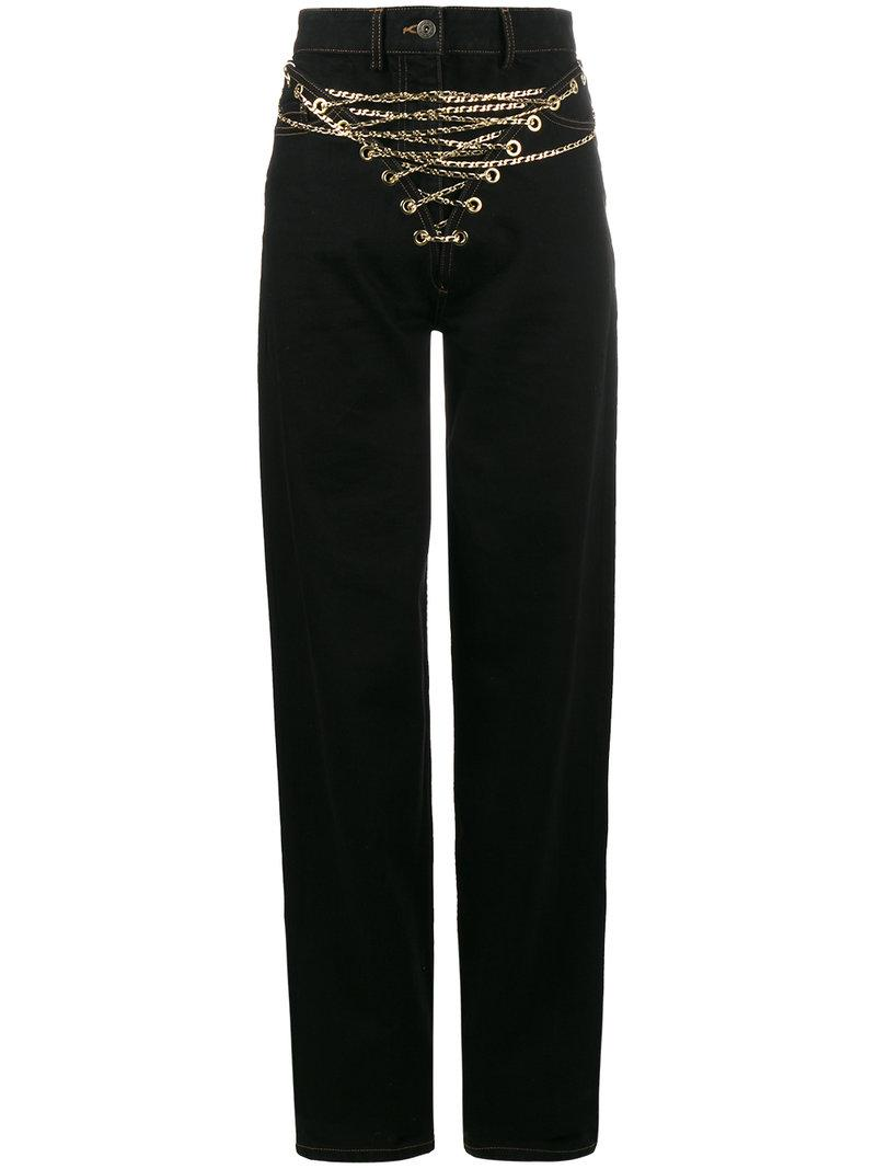 Y/Project Y / Project Mid-Rise Jeans With Chain Front In Black