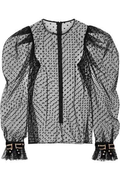Philosophy Di Lorenzo Serafini Embellished Velvet-Trimmed Polka-Dot Tulle Top In Black