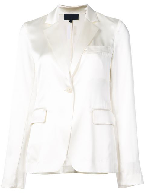 Nili Lotan Mireu Single Button Silk Blazer In White