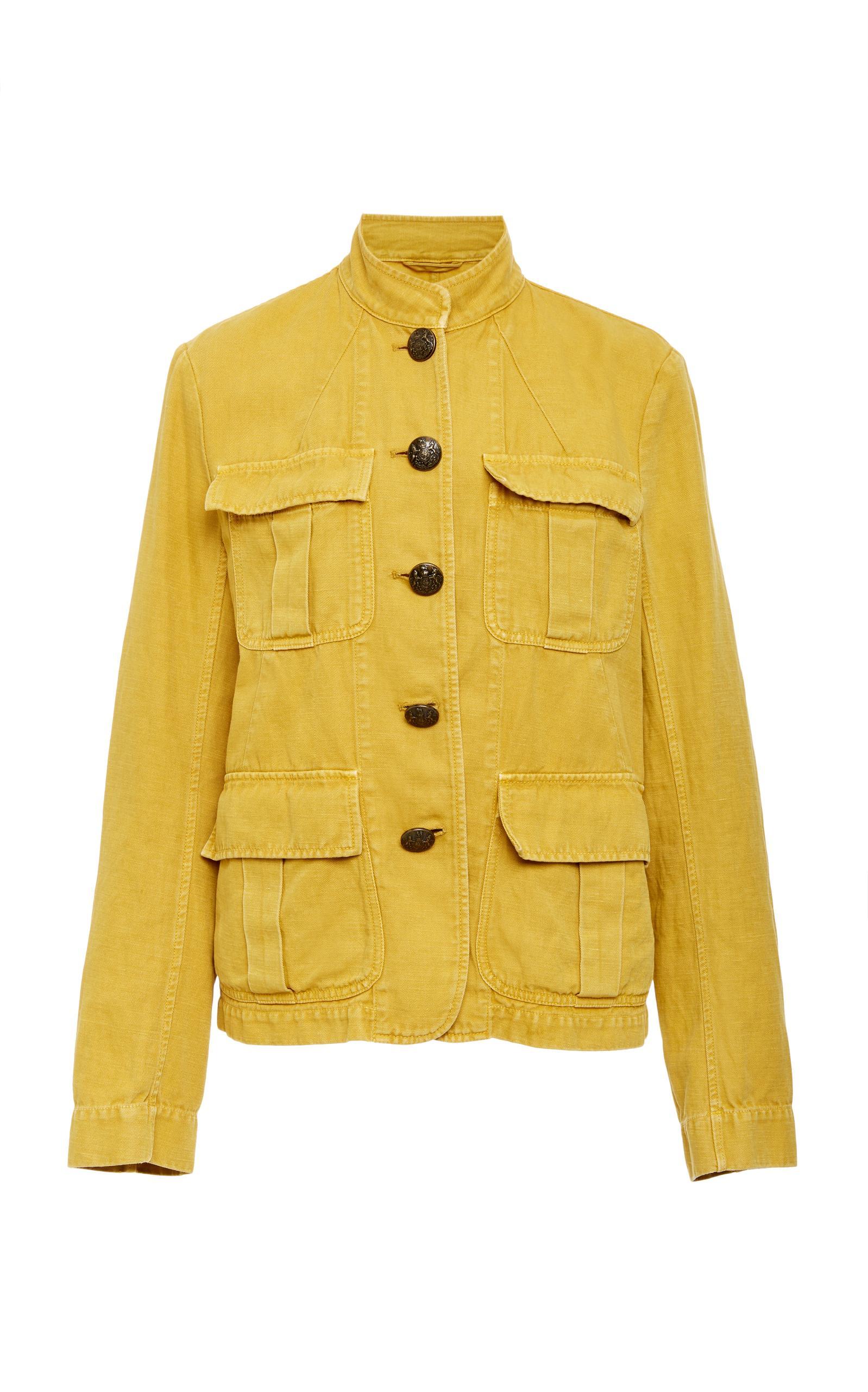 Nili Lotan Cambre Cotton-Linen Jacket - Mustard