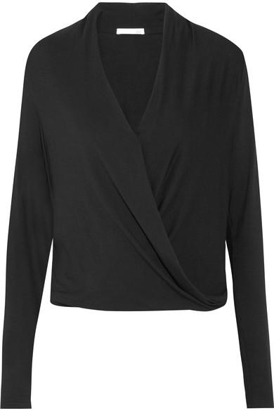 Skin Yori Wrap-Effect Jersey Pajama Top In Black