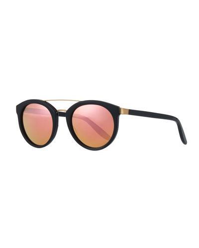 Barton Perreira Dalziel Round Iridescent Sunglasses, Black/Lilac