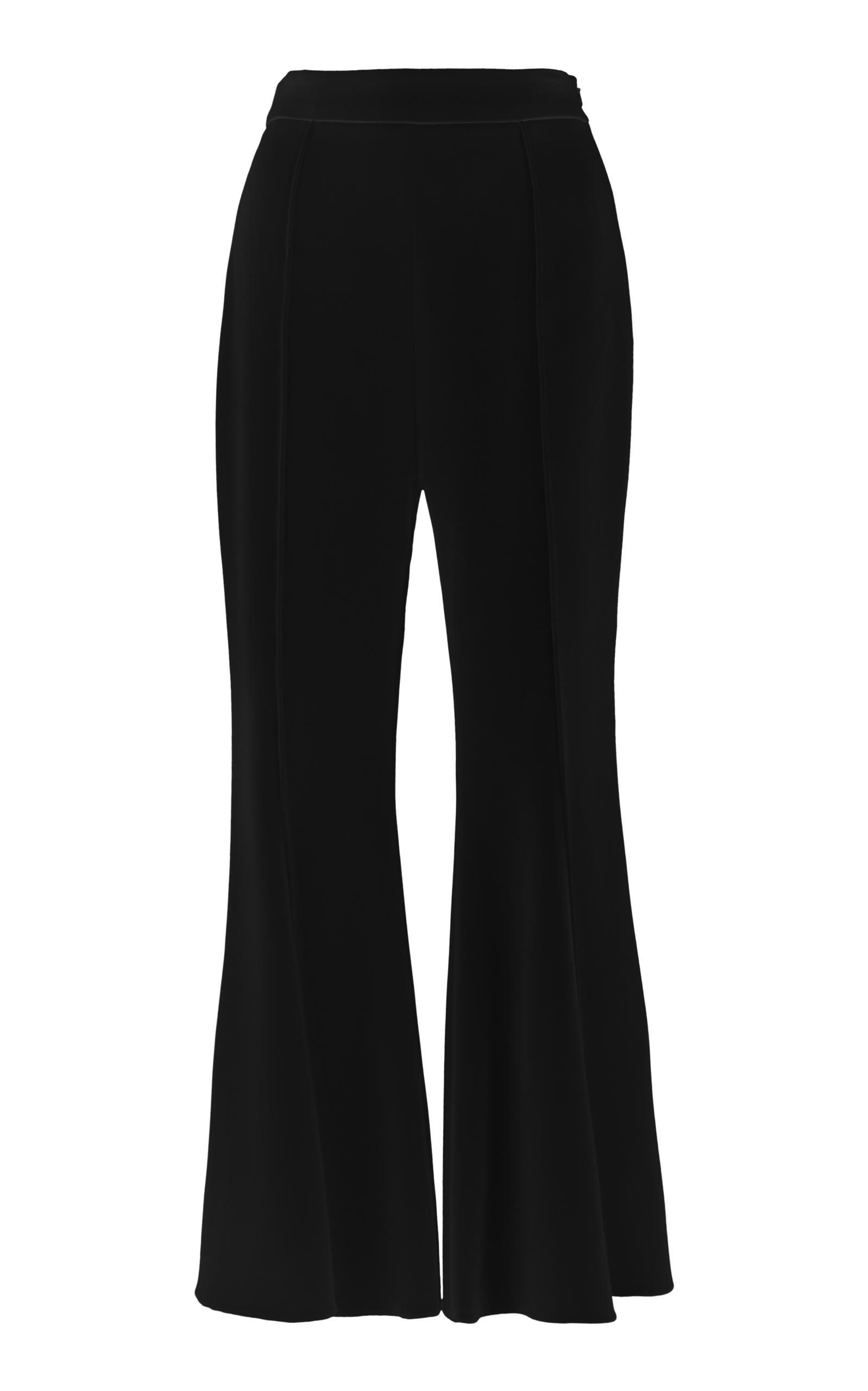 Cushnie Et Ochs Woman Cropped Crepe Flared Pants Black In White