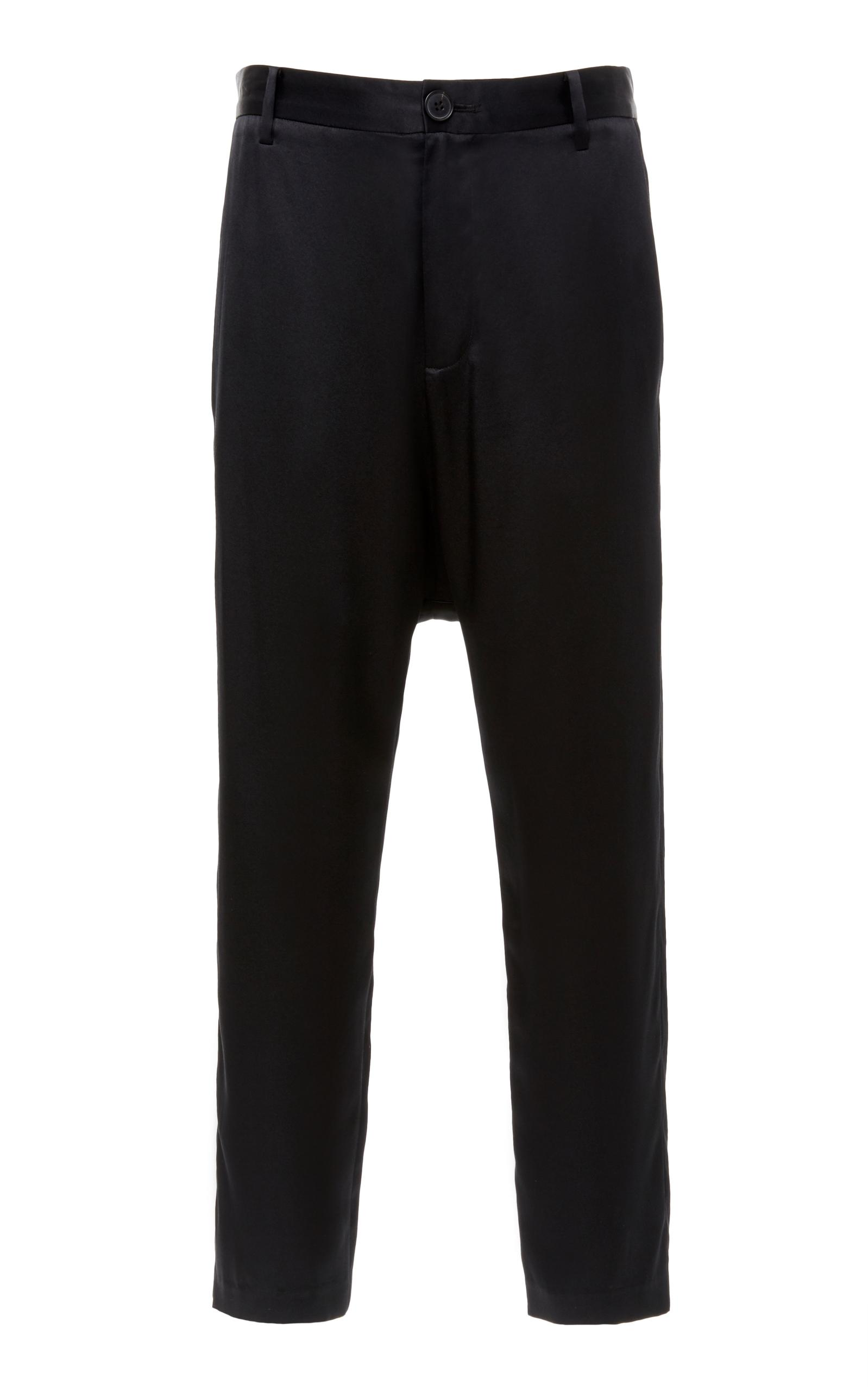 Nili Lotan Paris Silk Drop-Rise Crop Trousers - Black