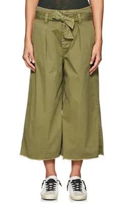 Nili Lotan Ellie Cotton-Blend Drop-Rise Culottes - Army Green