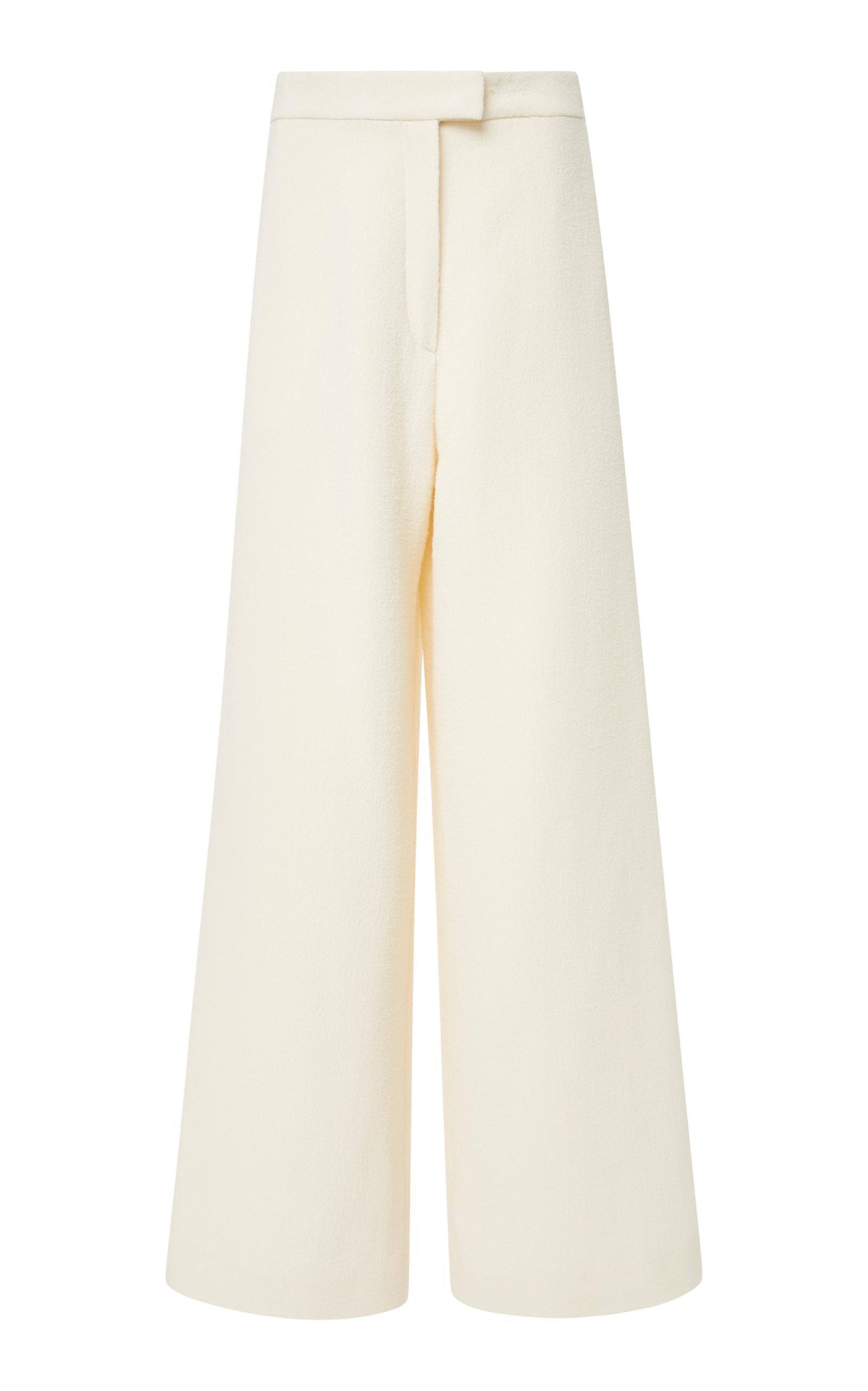 Tory Burch Thomas Full-Leg Double-Weave Pants In White