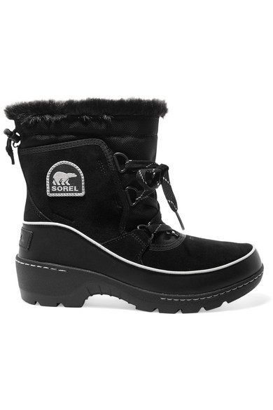 Sorel Torino Faux Fur-Trimmed Waterproof Suede, Shell And Leather Ankle Boots In Black