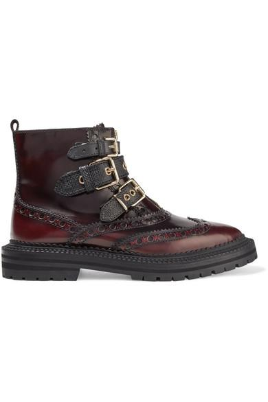 Burberry Everdon Buckled OmbrÉ Leather Ankle Boots In Burgundy