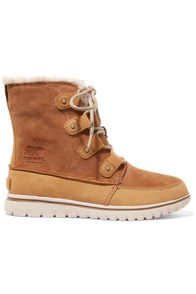 Sorel Cozy Joan Faux Fur-Lined Suede And Nubuck Ankle Boots