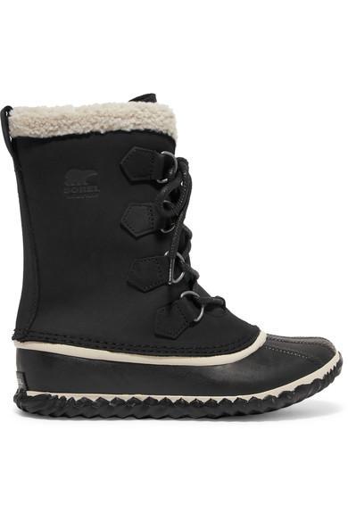Sorel Caribou Slim Waterproof Nubuck And Rubber Boots In Black