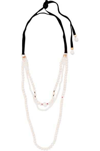 Magda Butrym Gold-Plated, Pearl, Spinel And Velvet Necklace